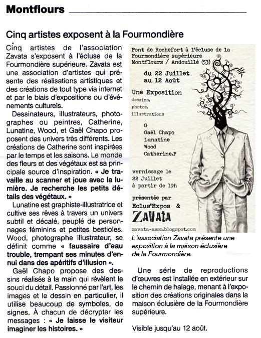 Article Ouest France - Exposition Zavata 2011