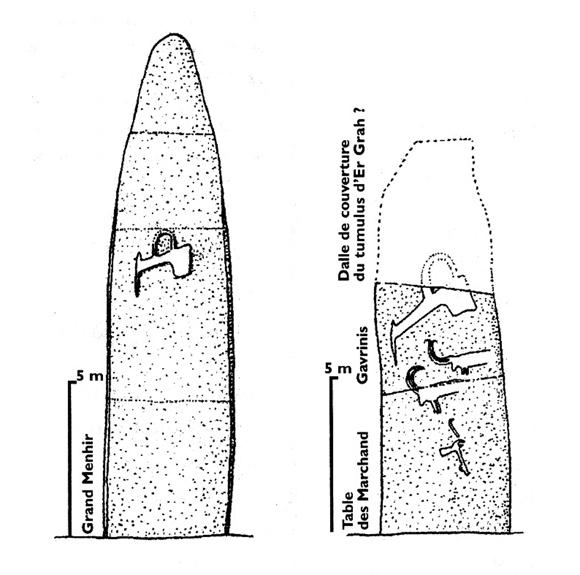 schema menhir locmariaquer - gavrinis