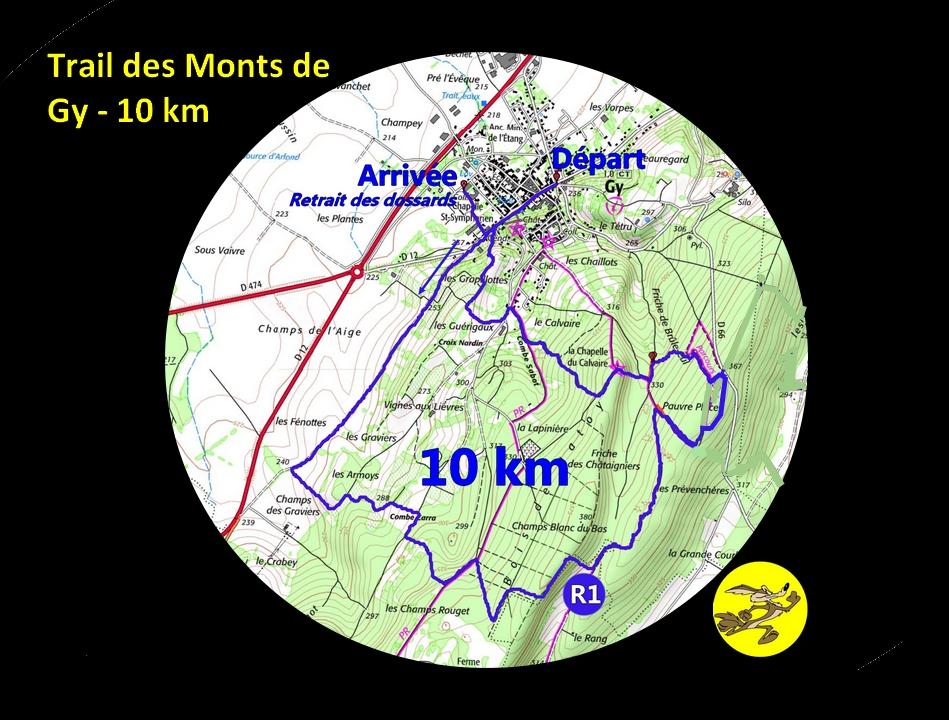 carte 10 km trail des monts de Gy