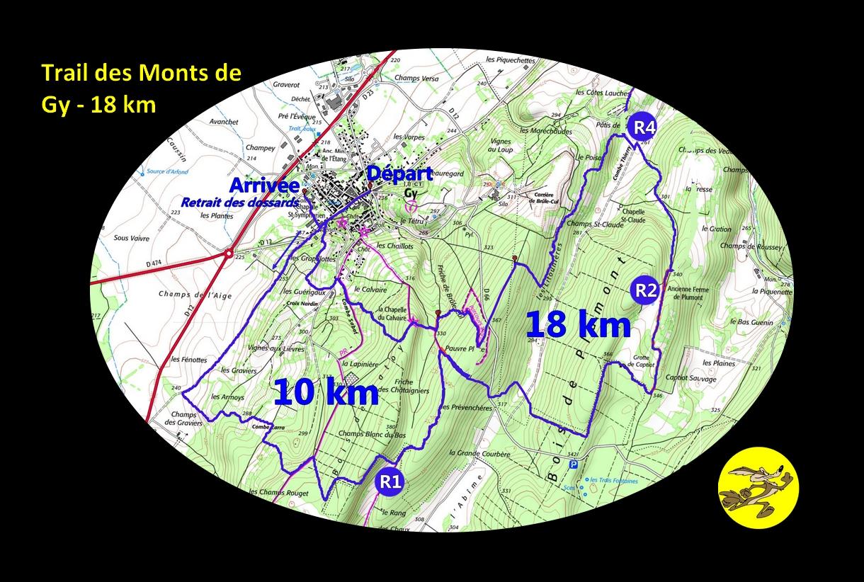 Carte 18 km trail des Monts de gy 2016